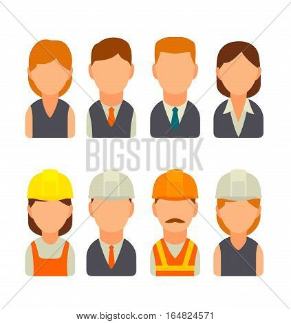 Set icon male and female faces for business avatars and character builder. Vector flat illustration on white background.