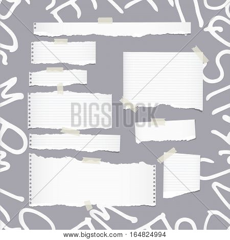 Ripped white ruled note, notebook, copybook paper sheets, strips on pattern created of alphabet letters.