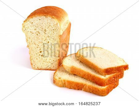 White bread isolated over clear white background