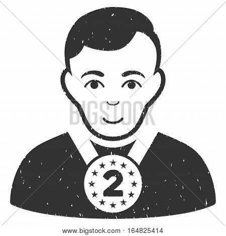 2nd Prizer Sportsman grainy textured icon for overlay watermark stamps. Flat symbol with unclean texture. Dotted vector gray ink rubber seal stamp with grunge design on a white background.