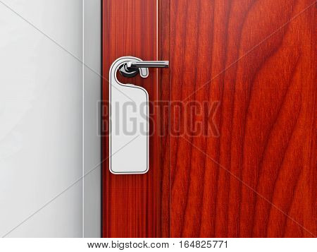 3D Illustration Of Metal Door Handle Lock With Hanger Isolated On Background