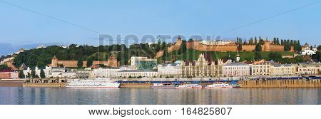NIZHNY NOVGOROD RUSSIA - JUNE 2016: Nizhny Novgorod panoramic view. View of the Nizhnevolzhsk embankment and Nizhny Novgorod Kremlin.