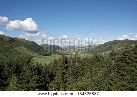Beautiful landscape Snowdonia wales pine forest overlooking blue sky and rolling hills