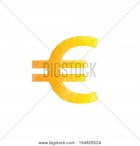 Polygonal euro sign. Isolated euro from triangles