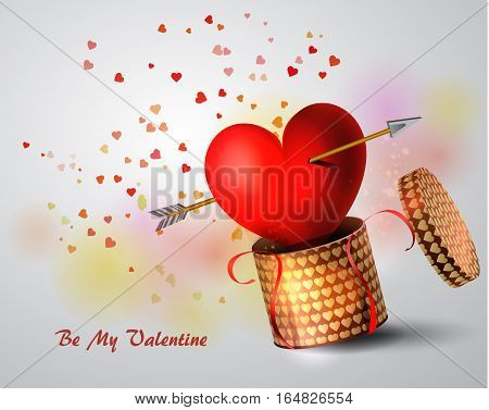 Box With Heart and Amour arrow on white Background, Vector Illustration