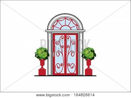 Glass Door With Fine Ornaments