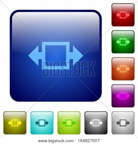 Width tool icons in rounded square color glossy button set