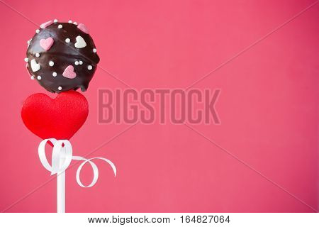 Valentine cake pops on a pink background