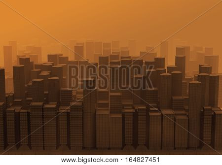 3d Computer graphic image expressing pollution. smog