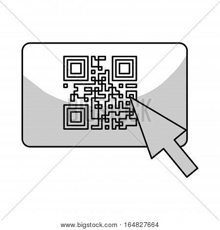 cursor and qr code icon over white background. vector illustration