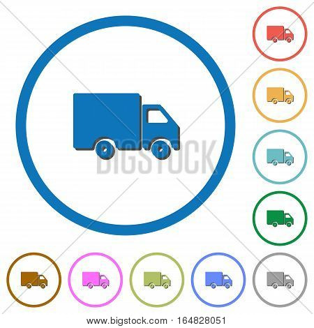 Delivery truck flat color vector icons with shadows in round outlines on white background