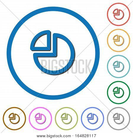Pie chart flat color vector icons with shadows in round outlines on white background