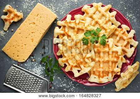 Cheese waffle Belgian cheese waffle top view