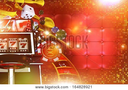 Casino Gambling Background with Right Side Copy Space. 3D Rendered Casino Game Elements. Las Vegas Gambling Concept Backdrop Illustration.