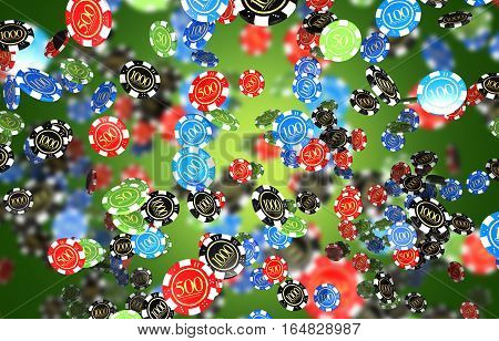Casino Games Chips Dark Green Background. Casino Chips 3D Rendered Illustration