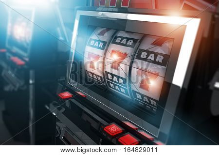 Casino Slot Games. One Handed Bandit Slot Machines Concept 3D Render Illustration. Casino Gambling.
