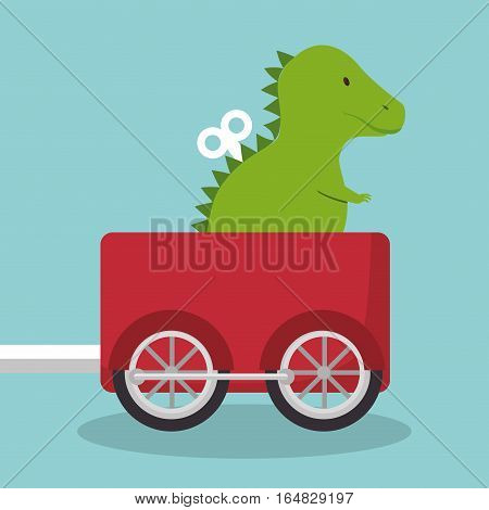 rex dinosaur in train wagon vector illustration design