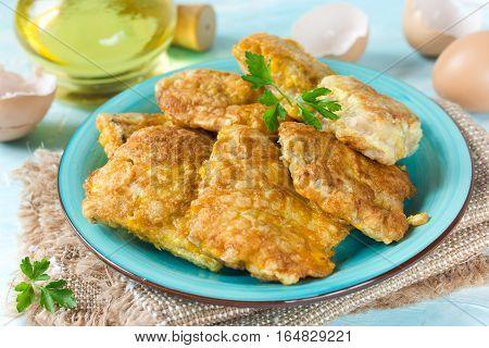 Fish fillet fried in egg batter recipe