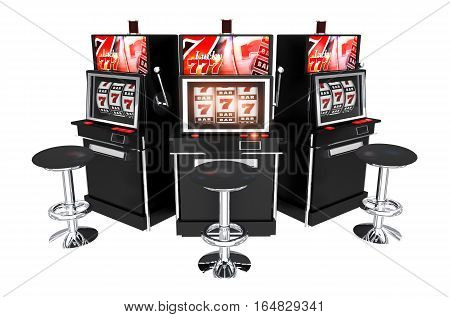 Three Casino Slot Machines Isolated on White Background. Slots 3D Render Illustration.