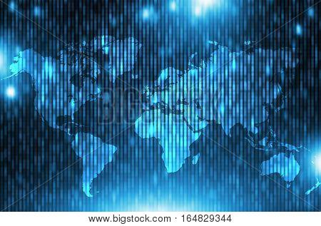 Global Corporate Matrix Background. Blue World Business Backdrop Illustration