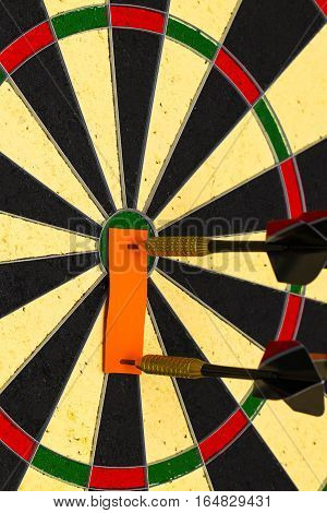 Darts With Dart Which Was Pinned A Sheet Of Paper For Labels