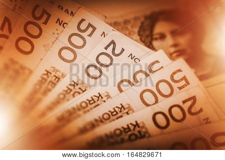 Norwegian Krone Cash Money Photo Concept. Pile of Norway Krone.