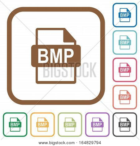 BMP file format simple icons in color rounded square frames on white background