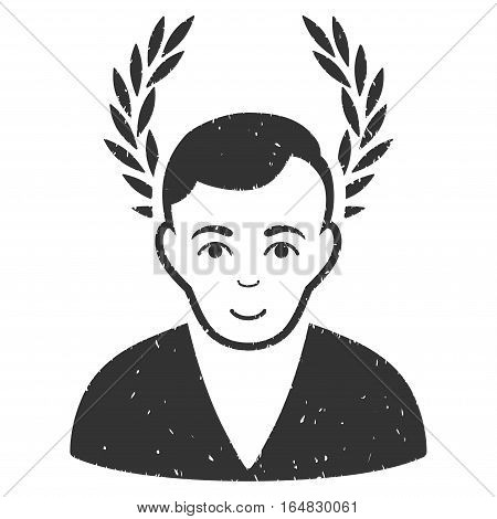 Man Glory grainy textured icon for overlay watermark stamps. Flat symbol with dust texture. Dotted vector gray ink rubber seal stamp with grunge design on a white background.