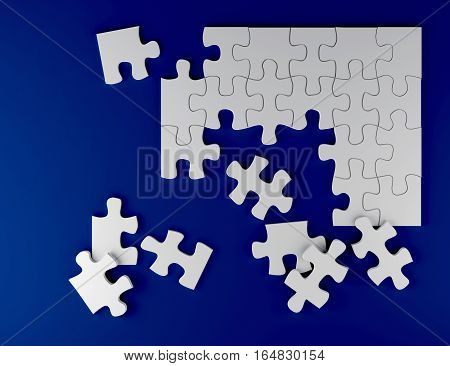 white puzzle on blue background business team strategy