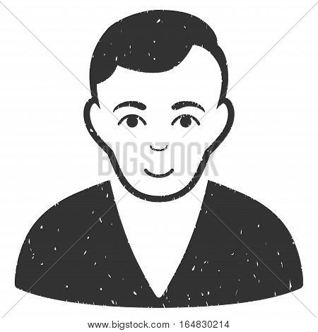 Man grainy textured icon for overlay watermark stamps. Flat symbol with scratched texture. Dotted vector gray ink rubber seal stamp with grunge design on a white background.