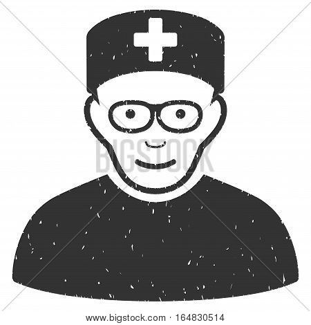 Medical Specialist grainy textured icon for overlay watermark stamps. Flat symbol with scratched texture. Dotted vector gray ink rubber seal stamp with grunge design on a white background.
