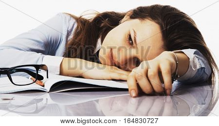 tired and exhausted woman working in the office (psychological portrait aggression anger frustration)