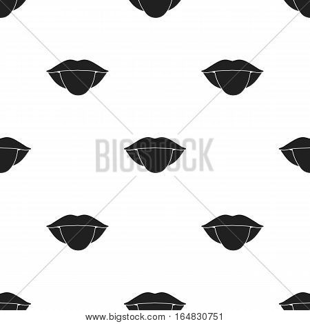 Tongue icon in black style isolated on white background. Part of body pattern vector illustration.