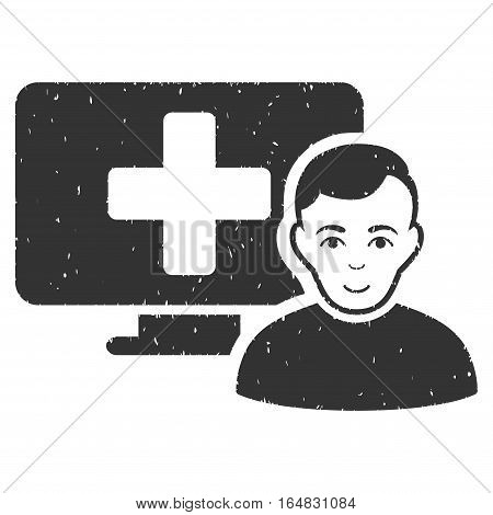 Online Medicine grainy textured icon for overlay watermark stamps. Flat symbol with dirty texture. Dotted vector gray ink rubber seal stamp with grunge design on a white background.