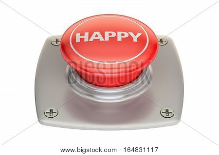 Happy Red Button 3D rendering isolated on white background