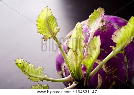 Purple kohlrabi cabbage with green leaves on dark wooden table, horizontal