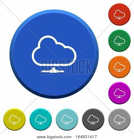 Cloud network round color beveled buttons with smooth surfaces and flat white icons