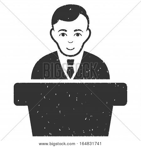 Politician grainy textured icon for overlay watermark stamps. Flat symbol with dust texture. Dotted vector gray ink rubber seal stamp with grunge design on a white background.