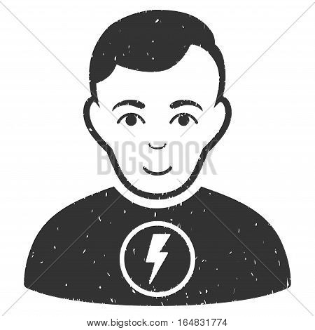 Power Man grainy textured icon for overlay watermark stamps. Flat symbol with scratched texture. Dotted vector gray ink rubber seal stamp with grunge design on a white background.