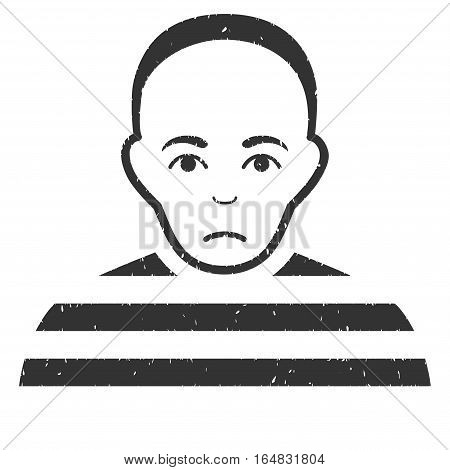 Prisoner grainy textured icon for overlay watermark stamps. Flat symbol with dirty texture. Dotted vector gray ink rubber seal stamp with grunge design on a white background.