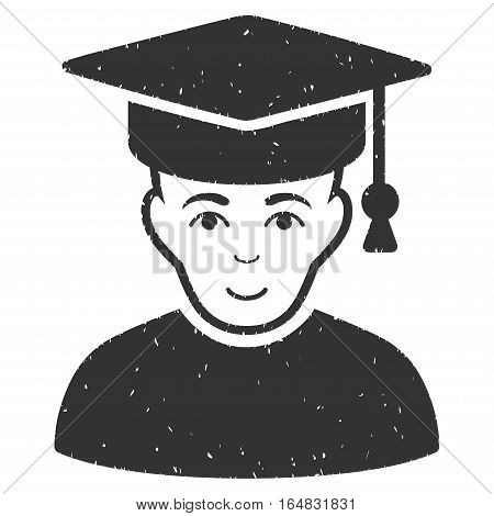 Professor grainy textured icon for overlay watermark stamps. Flat symbol with scratched texture. Dotted vector gray ink rubber seal stamp with grunge design on a white background.