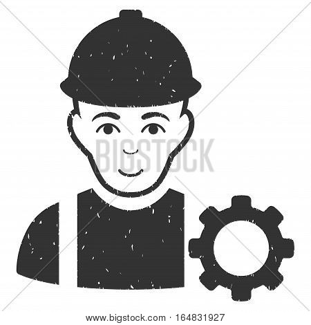 Repairman grainy textured icon for overlay watermark stamps. Flat symbol with scratched texture. Dotted vector gray ink rubber seal stamp with grunge design on a white background.