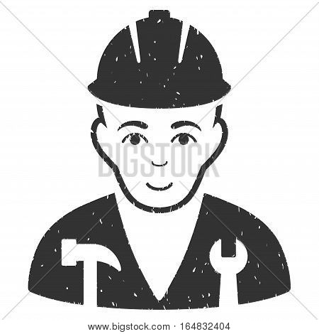 Serviceman grainy textured icon for overlay watermark stamps. Flat symbol with scratched texture. Dotted vector gray ink rubber seal stamp with grunge design on a white background.