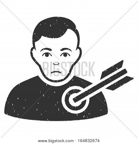 Target Man grainy textured icon for overlay watermark stamps. Flat symbol with unclean texture. Dotted vector gray ink rubber seal stamp with grunge design on a white background.