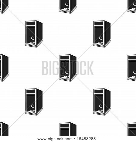 System unit icon in black style isolated on white background. Personal computer pattern vector illustration.