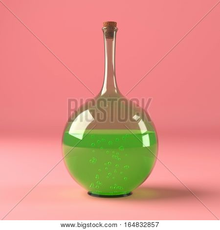Chemical laboratory flask with green liquid isolated on red