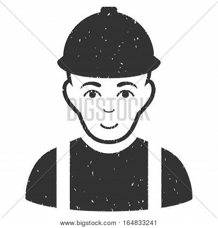 Worker grainy textured icon for overlay watermark stamps. Flat symbol with dirty texture. Dotted vector gray ink rubber seal stamp with grunge design on a white background.