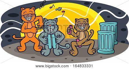 Funny Cats Band Concert at Night Cartoon Illustration