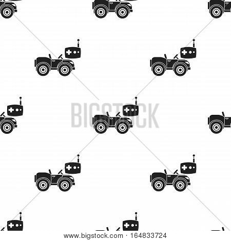 RC car icon in black style isolated on white background. Play garden pattern vector illustration.
