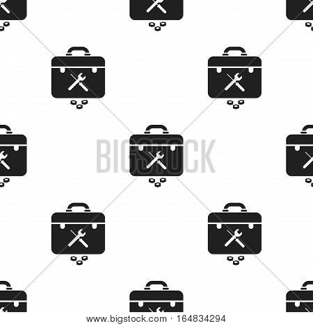 Toolbox icon in black style isolated on white background. Plumbing pattern vector illustration.